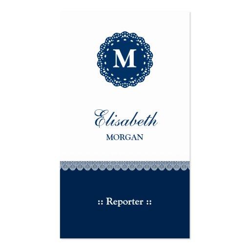 Reporter Elegant Blue Lace Monogram Business Cards