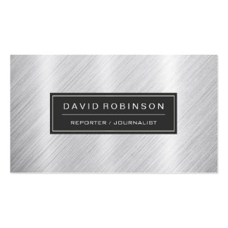Reporter Journalist - Modern Brushed Metal Look Double-Sided Standard Business Cards (Pack Of 100)