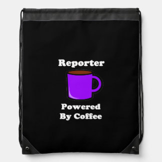"""""""Reporter"""" Powered by Coffee Drawstring Backpack"""