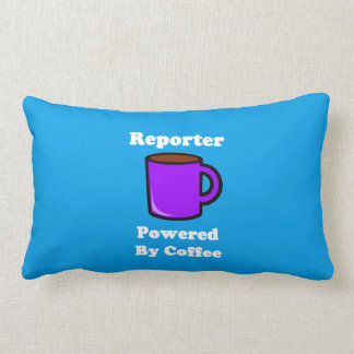 """Reporter"" Powered by Coffee Lumbar Pillow"
