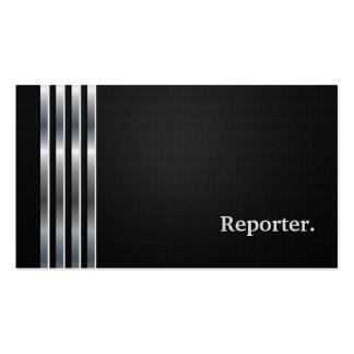 Reporter Professional Black Silver Double-Sided Standard Business Cards (Pack Of 100)