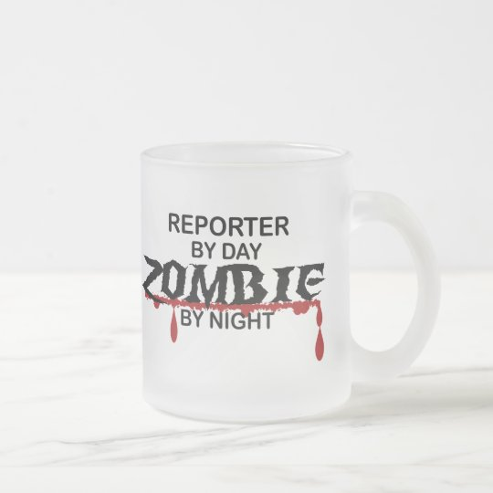 Reporter Zombie Frosted Glass Coffee Mug
