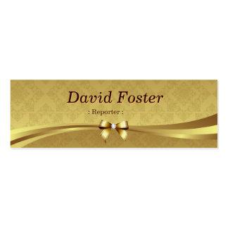 Reportero - damasco brillante del oro tarjetas de visita mini