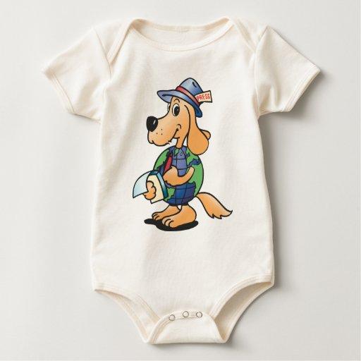 Reportero del perro de la tierra body para bebé