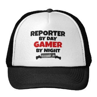 Reportero por videojugador del día por noche gorras