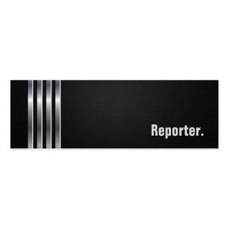 Reportero - rayas de plata negras tarjetas de visita mini