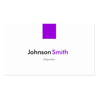 Reportero - violeta púrpura simple tarjetas de visita