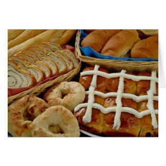 Repostería y pastelería deliciosa: panecillos, rol tarjeta de felicitación
