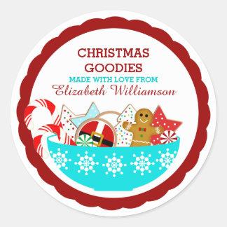 Repostería y pastelería personalizada del navidad pegatina redonda