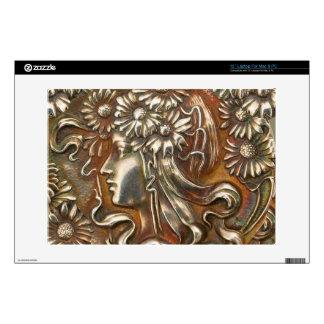 """Repousse Silver Art Nouveau Maiden Antique Jewelry 13"""" Laptop Decal"""