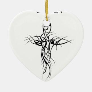 Represent cross ceramic ornament