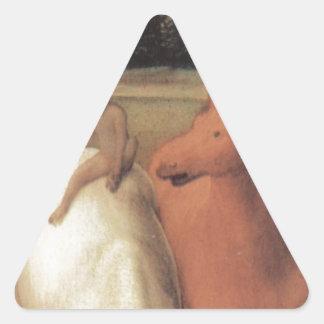 Representación alegórica de dos caballos pegatina triangular