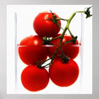 Representación de lienzo tomates en el vidrio de q poster