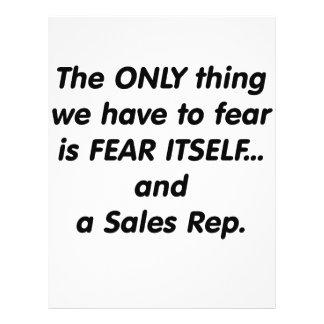 Representante de las ventas del miedo tarjetas informativas
