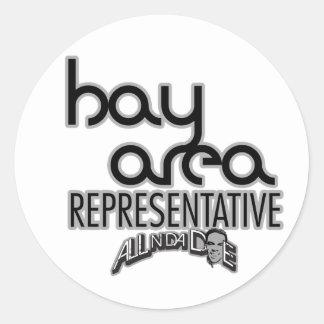 Representante del área de la bahía pegatina redonda