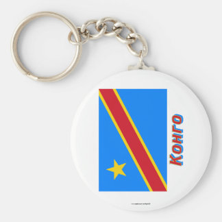 Representante Democratic de Congo. Bandera con nom Llavero Personalizado