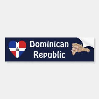 Representante dominicano. Corazón de la bandera +  Pegatina Para Auto