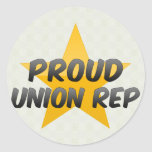 Representante orgulloso de la unión etiqueta