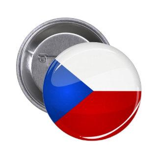 Representante redondo brillante de Checo. Bandera Pin Redondo De 2 Pulgadas