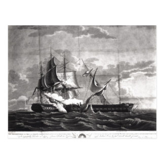 Representation of the US frigate, Postcard