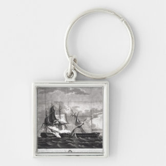 Representation of the US frigate, Silver-Colored Square Keychain