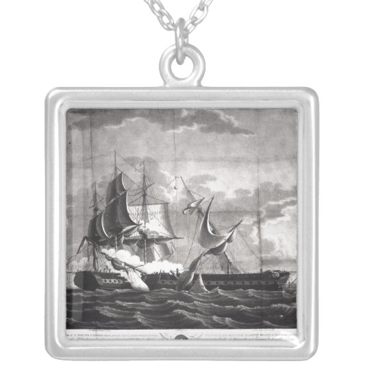 Representation of the US frigate, Silver Plated Necklace