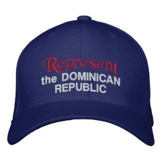 Represente el casquillo de la República Dominicana Gorro Bordado