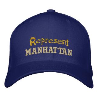 Represente el casquillo de Manhattan Gorra De Béisbol Bordada