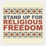 Represente para arriba la libertad religiosa colcomanias cuadradas personalizadas