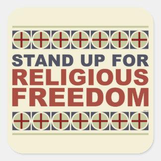 Represente para arriba la libertad religiosa pegatina cuadrada