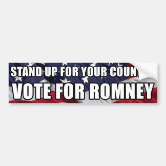 Represente para arriba su país, voto para Romney Pegatina Para Auto