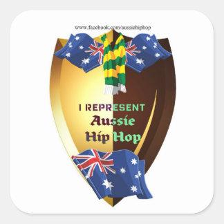 Represento el hip-hop australiano pegatina cuadrada