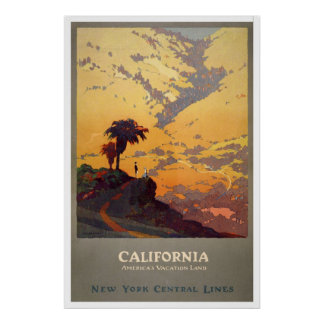 Reprint of a Vintage Travel Poster to California