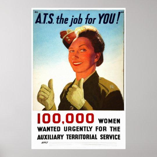 Reprint of a WW2 British ATS Recruiting Poster