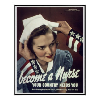 Reprint of a WW2 Female Nursing Recruiting Poster
