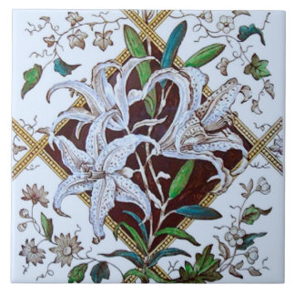 Repro 1880s Victorian Lilies Transferware Tile