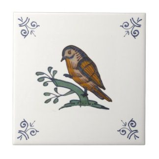 Repro 18th Century Multicolor Delft Bird Tile