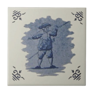 Repro Antique Dutch Blue Delft Figural Tile