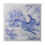 Repro Antique Wedgwood 1876 Blue Hare Rabbit Tile