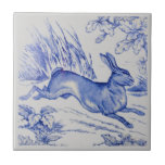 "Repro Antique Wedgwood 1876 Blue Hare Rabbit Tile<br><div class=""desc"">Rabbit. From a series of Wedgwood tiles featuring game subjects.</div>"
