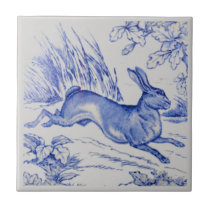 Repro Antique Wedgwood 1876 Blue Hare Rabbit Tile