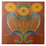 "Repro Art Nouveau Autumn Colors Floral Ceramic Tile<br><div class=""desc"">A lovely art nouveau tile copied from a tube-lined original. (Although this one preserves the dimensional look of a tube lined style tile,  it is flat.) Gorgeous fall colors!</div>"