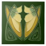 """Repro Art Nouveau Dk Green c1900 Floral Ceramic Tile<br><div class=""""desc"""">The Art Nouveau style began in the last decade of the 19th century and lasted until WWI. Art Nouveau design is currently experiencing a renewed popularity and these are among our most popular tiles.</div>"""