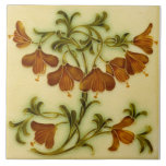 """Repro Art Nouveau Floral Faux Embossed Ceramic Tile<br><div class=""""desc"""">Repro Pilkington circa 1900 embossed majolica delicate art nouveau floral tile designed by Lewis Day.</div>"""
