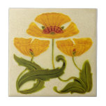 """Repro circa 1900 Pilkington Floral Art Nouveau Ceramic Tile<br><div class=""""desc"""">Reproduced from a circa 1900 Pilkington tile, this features a stylized floral design in a deep apricot and green on a cream background. Crazing is even and subtle and just enough to add character and charm. Note that your tile will be printed to look like it is crazed and has...</div>"""