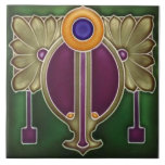 """Repro German Jugendstil Art Nouveau/Art Deco Ceramic Tile<br><div class=""""desc"""">Gorgeous jewel tones and a stunning design from a tile made in Germany around 1900-1905. Jugendstil style can perhaps best be described as a type of art nouveau that foreshadowed the art deco movement. Rich, gorgeous colors of dark green, plum, an olivey beige and orange. We have this tile in...</div>"""