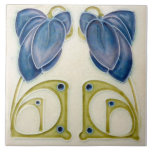 """Repro German Jugendstil Art Nouveau Blue Floral Ceramic Tile<br><div class=""""desc"""">The original of this tile was made in Germany in the very early 1900s. Jugenstil was an artistic movement closely related to Art Nouveau that was active in Germany from the late 19th to early 20th centuries.</div>"""