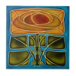"""Repro Richards c1900 Art Nouveau Mackintosh Rose Ceramic Tile<br><div class=""""desc"""">Reproduced from an actual antique Richards tile with a raised (tube-lined or molded) outline, this is a stylized art nouveau style of a floral design known as the Glasgow or Mackintosh rose. Brilliant colors of turquoise, peach, rust, and green emphasize the design. Note that, although the original has raised outlines,...</div>"""