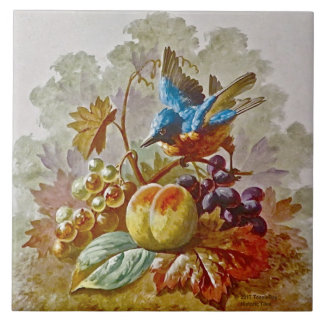 Repro Victorian Handpainted Bird & Fruit Tile #2