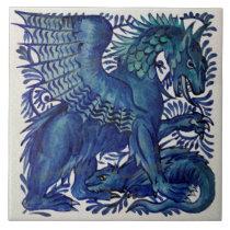 Repro Wm De Morgan Blue Mother Child Dragons Ceramic Tile